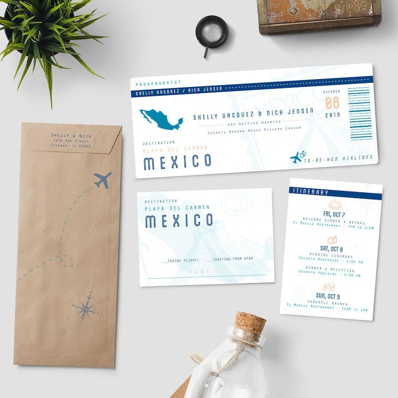 Boarding Pass Destination Wedding Invitation Suite To Etsy