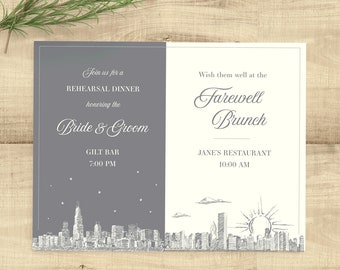 Dual Event Skyline rehearsal dinner and brunch invitation, completely customizable with your preferred skyline and colors; set of 25