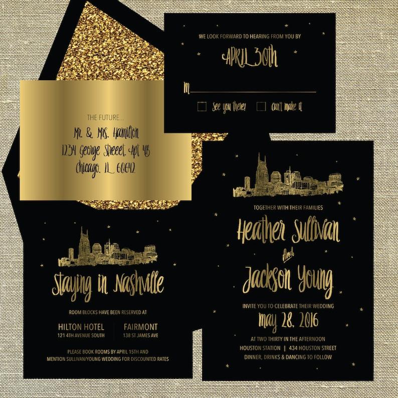 Nashville Tennessee Lovetown Wedding Suite gold foil on black card stock LETTERPRESS DEPOSIT LISTING