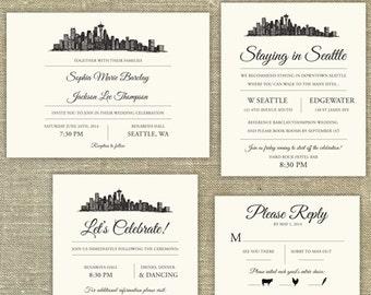 Seattle Skyline Destination Wedding invitation suite; SAMPLE ONLY