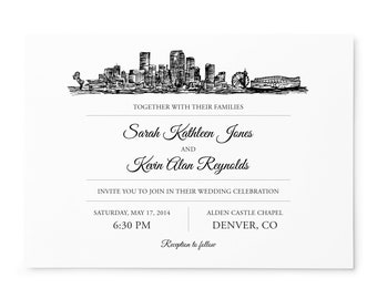 Denver Skyline Destination Wedding invitation, mountain wedding, wedding samples; SAMPLE ONLY