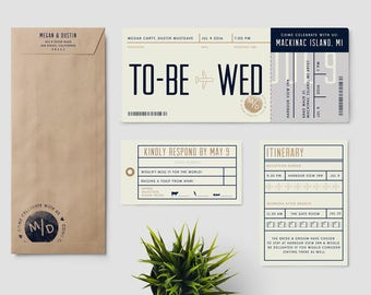 "Boarding Pass destination wedding invitation suite, ""To be Wed"", plane ticket wedding invitation; completely customizable; SAMPLE ONLY"
