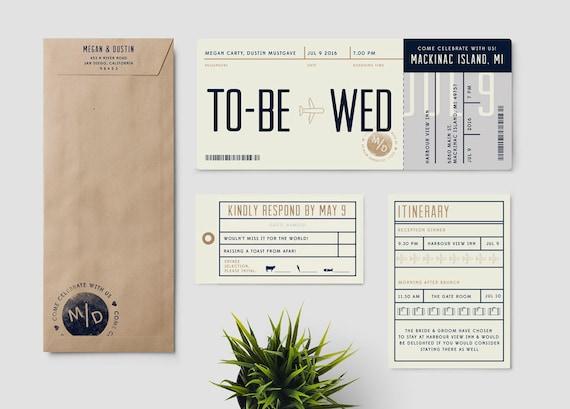 Boarding Pass Destination Wedding Invitation Suite To