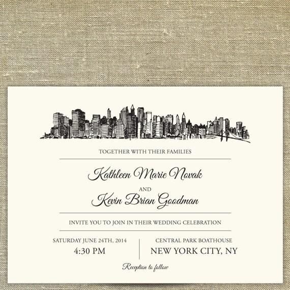 New York City Skyline Wedding Invitation Suite SAMPLE ONLY