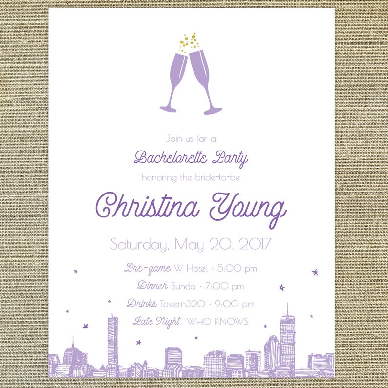 Lavender/Purple Bash Bachelorette Party City Skyline set of 25 any occasion  invitations with matching envelopes