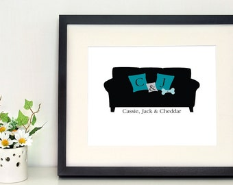 Couple and Dog Couch 8 x 10 inch wall art, housewarming gift with initials, couple's initials