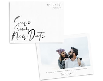"""Save Our New Date Announcements with Photo Printing """"Modern Watercolor"""", includes envelopes and return address printing"""