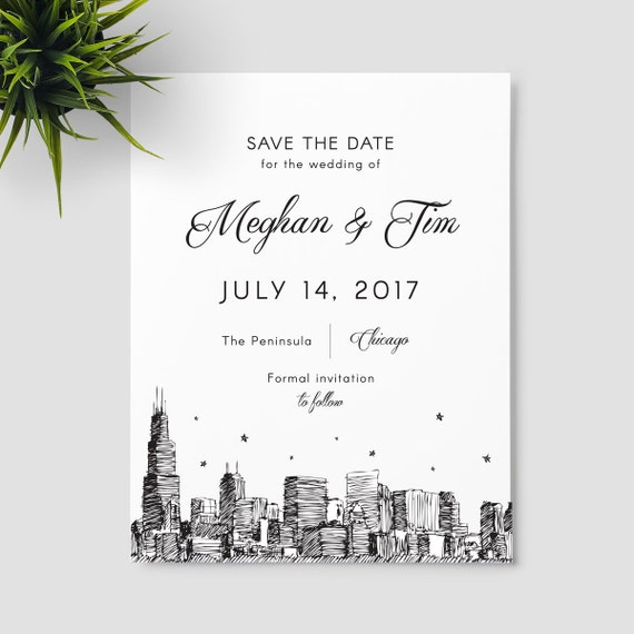 chicago skyline save the date the windy city sample only etsy