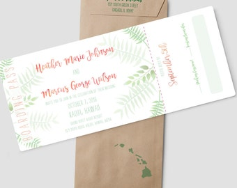 "Boarding Pass Hawaii destination wedding invitation suite, ""Hawaiian Getaway"", plane ticket wedding invitation; SAMPLE ONLY"
