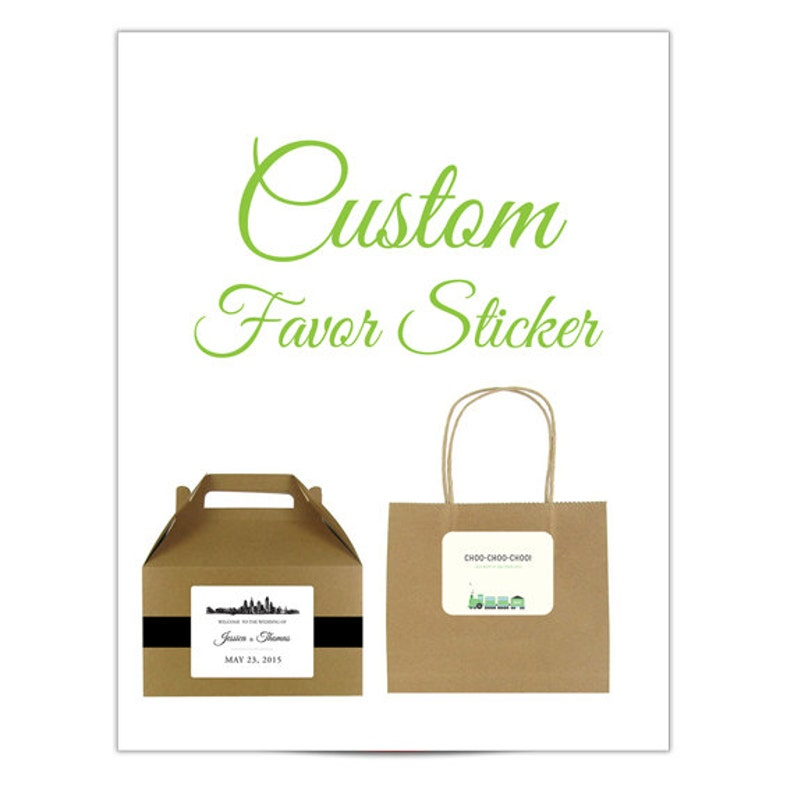Skyline stickers for wedding welcome bags or gable boxes; available in any skyline; 4x3 with rounded corners COMPLETELY CUSTOMIZABLE