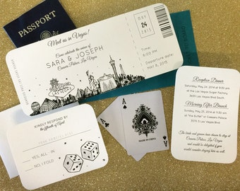Las Vegas Skyline Plane Ticket Wedding Invitation Sample, Custom Wedding Invitations; listing for SAMPLE ONLY
