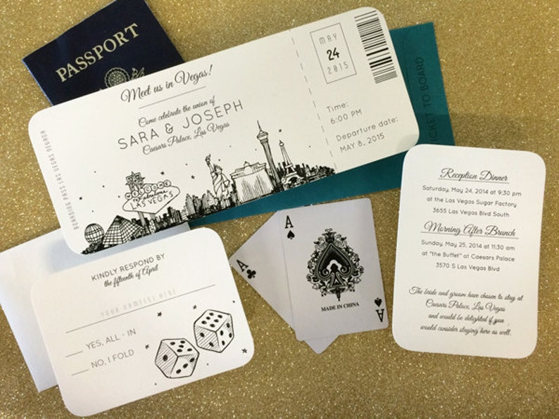 Las Vegas Skyline Plane Ticket Wedding Invitation Destination Etsy