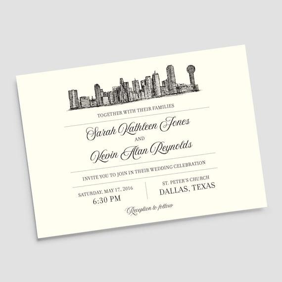 Dallas Texas Skyline Destination Wedding Invitation Suite
