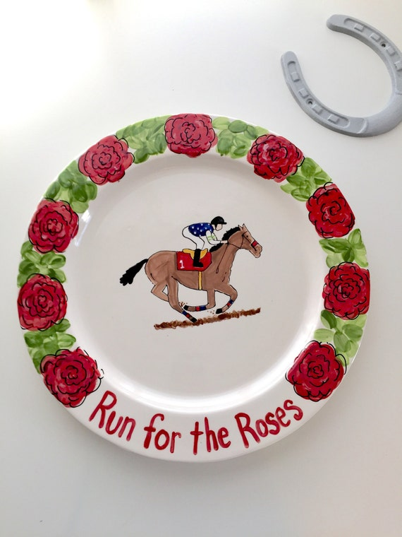 Kentucky Derby pottery, Run for the Roses platter, Horse racing platter, Derby platter, Horse racing theme party, horse owner gift, KY Derby