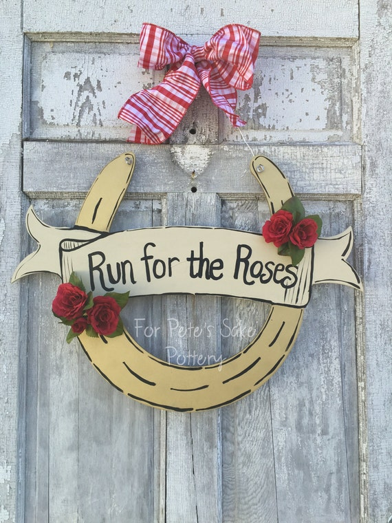 Kentucky Derby, Horseshoe door hanger, Kentucky Derby party, Horse racing sign, horse farm, Derby party, hand painted, derby, Door Hanger