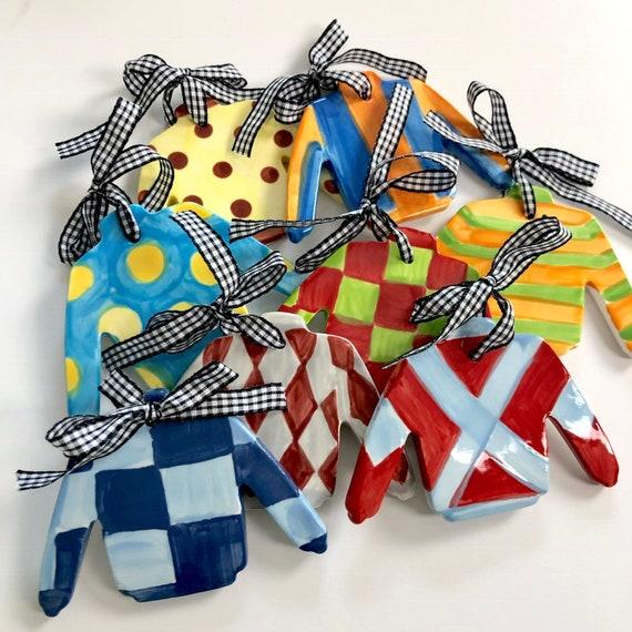 Jockey silk ornament, hand painted ceramic DERBY ornament, Jockey silk ceramic ornament, Derby party gift, Horse racing ornament