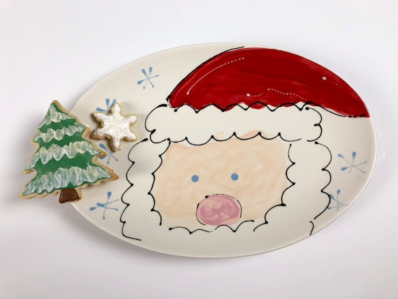 hand painted, sant platter, st nick plate, cookies for Santa plate, hand painted  Christmas plate, Christmas cookie plate