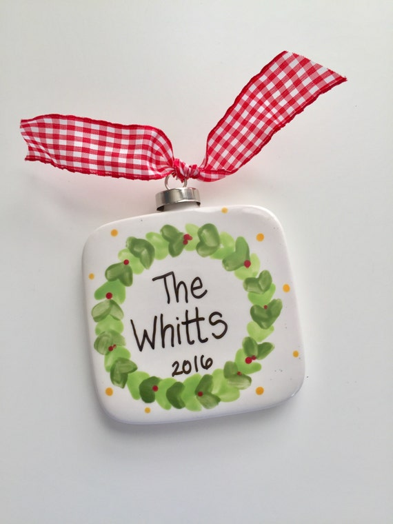 Hand painted, ceramic,  Laurel wreath ornament,  Family, personalized  Christmas ornament