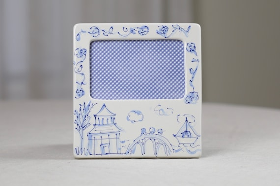Chinoiserie, picture frame,  chinoiserie frame, preppy picture frame, hand painted picture frame, chinoiserie chic decor