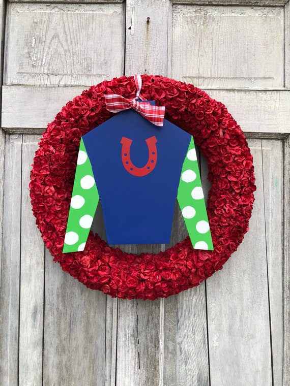 Run for the Roses wreath, Derby roses wreath, Jockey door hanger, Derby, red roses wreath, Kentucky Derby decoration, Spring horse racing wr