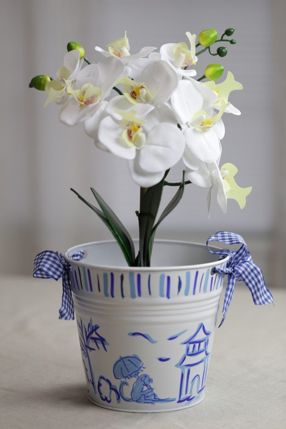 Hand painted, chinoiserie bucket, chinoiserie pail, blue and white chinoiserie flower pot, chinoiserie pot, metal bucket