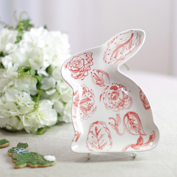 Coral and white easter dish, bunny dish, chinoiserie easter dish, bunny tray, ceramic bunny dish, easter table decor, easter decor