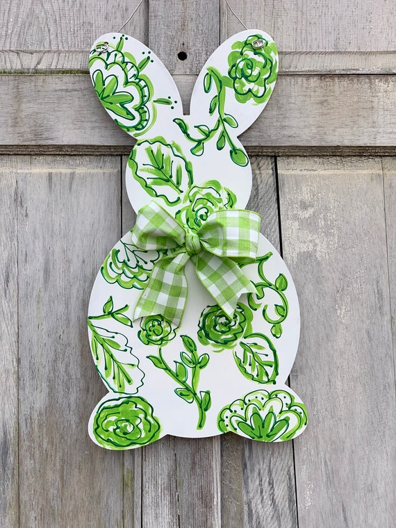 Easter door hanger,  Spring door hanger, chinoiserie door hanger, Bunny door hanger, Easter decoration, Easter bunny sign, gingham bunny