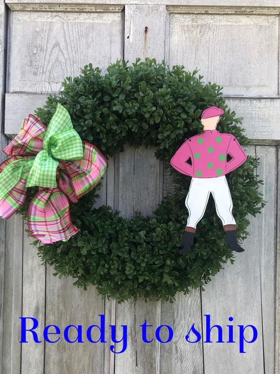 READY TO SHIP Derby wreath, Jockey door hanger, Derby, boxwood wreath, Kentucky Derby decoration, Spring horse racing wreath, Jockey wreath