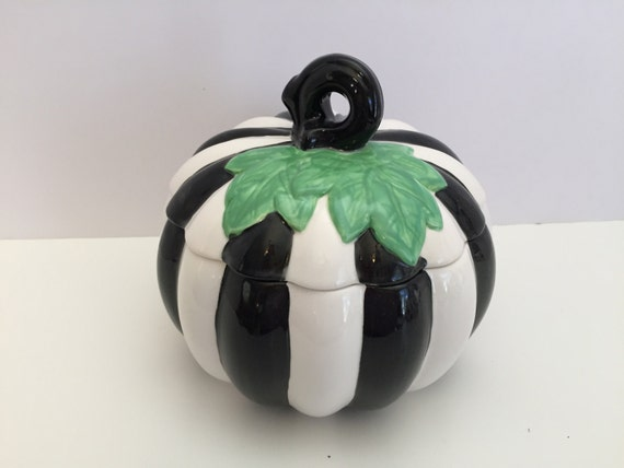 Hand painted, black and white, stripe pumpkin jar, ceramic pumpkin jar, halloween decor, halloween tabletop decor, tabletop decor