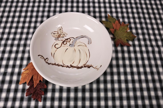 Farm house fall platter, hand painted pasta bowl, Autumn serving dish, Pumpkin platter, Hand painted, holiday bowl, fall bowl