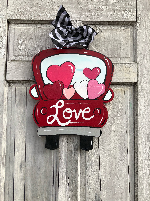 Valentine door hanger red truck door hanger vintage truck door hanger Valentines Day door hanger heart door hanger & Valentine door hanger red truck door hanger vintage truck door ...