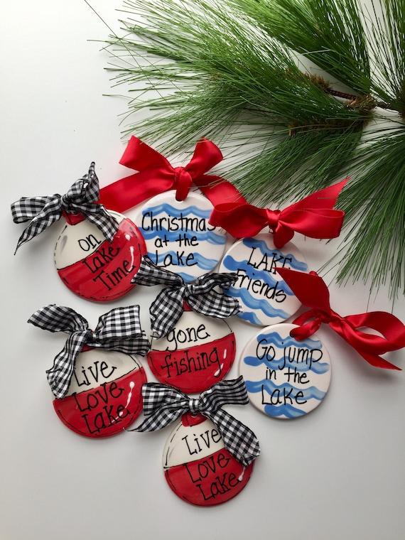 Lake house ornament, Clambake ornament, Lake friends ornament, Fishing ornament, Lake Bobber, personalized Christmas ornament, lake bobber