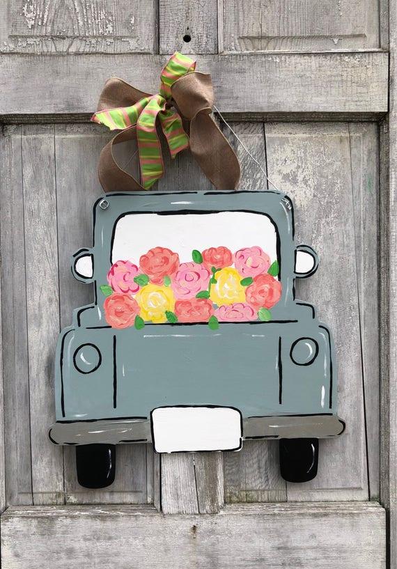 Spring truck door hanger, wide back, old truck door hanger, vintage truck door hanger, farm house door hanger, personalized, spring door han