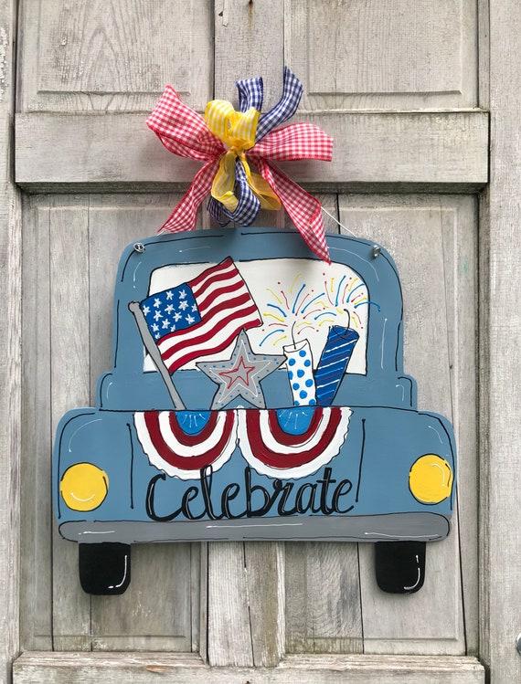 back of truck door hanger, 4th of july door hanger, usa door hanger, vintage truck door hanger, american door hanger, july 4 door art