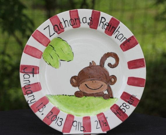 Custom Birth Announcement plate, Baby gift plate, Personalized Baby plate, Baby boy plate, Baby girl plate, Hand painted personalized plate