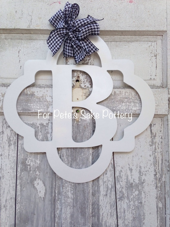 Quatrefoil wood monogram, Initial wood monogram, Wood monogram hanger, New home sign, Welcome sign, Wedding monogram sign