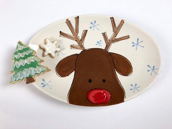 hand painted, reindeer platter, Christmas plate, cookies for Santa, hand painted  Christmas plate, Christmas cookie plate, rudolph plate