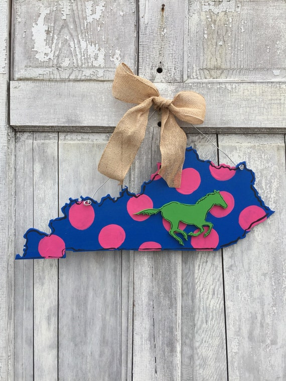 Kentucky, horseracing, horse, equestrian, derby, hand painted, jockey silk style, wood,  State, door hanger or wall art