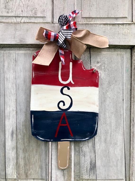 Summer door hanger, popsicle door hanger, Summer door decor, 4th of July door hanger, Patriotic Door Hanger, bomb pop sign,