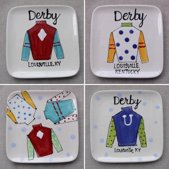 Jockey silk plate, Equestrian plate, Derby dessert plate, derby appetizer plate,  Derby Jockey silk plate, Derby pottery, Derby party plate