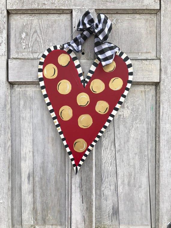 Valentine's Day, Heart door hanger, polka dot heart door hanger, gold, whimsical heart, Valentine's Day decor,  spring door hanger
