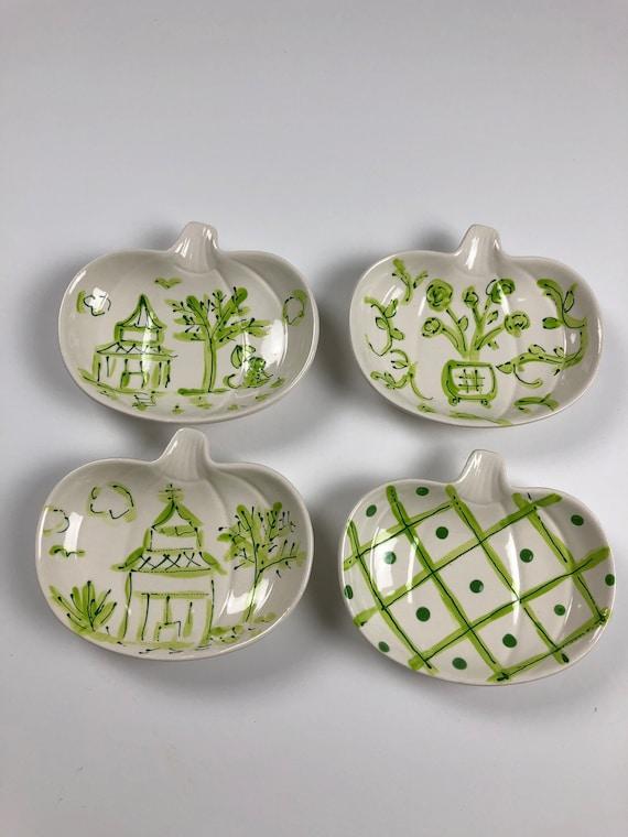 Halloween chinoiserie, ceramic, pumpkin dish, hand painted, chinoiserie dish, pumpkin dish,  white pumpkin dish