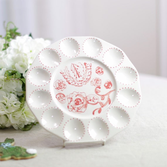 Spring deviled egg dish, traditional egg dish, hand painted egg plate, deviled egg platter, chinoiserie style egg plate, easter egg serving