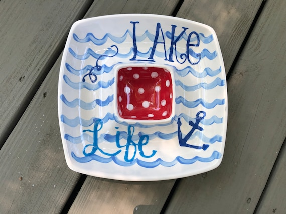 Lake theme chip and dip, Lake life, serving platter, lake life chip and dip, hand painted chip and dip, lake house gift, lake dish