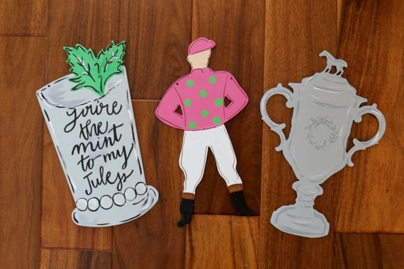 "12"" Jockey door hanger, 12"" mint julep, 12"" horse trophy, Derby wreath complement, Kentucky Derby decoration, Spring horse racing wreath,"