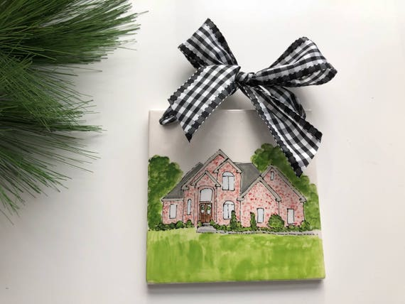 Illustrated Home tile, Illustrated house gift, Custom, hand painted, Home, New Home gift, Family Heirloom gift, house tile