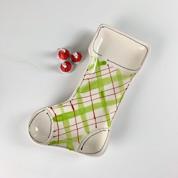 Christmas stocking dish, Christmas candy dish, hand painted stocking, plaid Christmas dish, toile Christmas dish, holly print stocking,