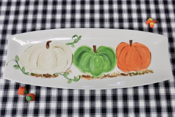 hand painted, pumpkin platter, Thanksgiving platter, fall platter, pumpkin platter, handpainted pumpkin platter, for pete's sake platter,