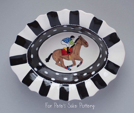 Derby, Horseracing, Equestrian,  ruffle black and white serving dish, Derby pottery bowl, Horse racing gift