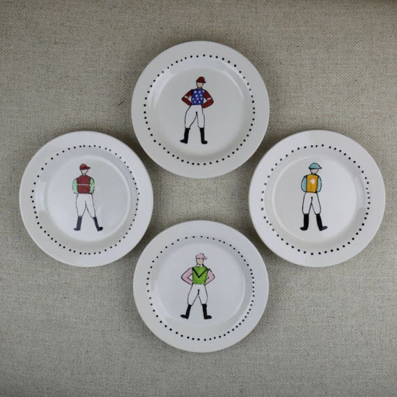 Derby dessert plate, jockey plate, horse racing plate, tiny jockey plate, derby dessert plate, derby hostess gift, hand painted jockey plate